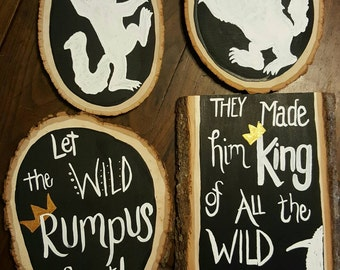Set of Four-King of the Wild Things, Nursery, Where the Wild Things Are, Wild One, Party Decor, Real Wood Art