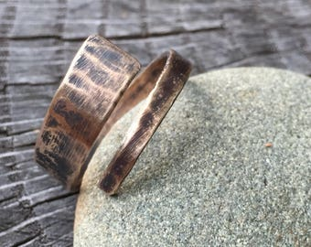 Simple Celtic Bronze Ring - Minimalist Rustic Gold Band - Hand Forged Unisex Men's or Women's 8th Anniversary Jewelry