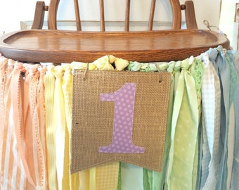Rainbow High Chair Banner. Girls First Birthday Party Supplies.  Shabby Chic High Chair Banner with Burlap Flag.