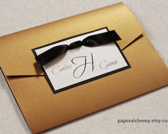 Wedding Invitation - Gold/Black/Ecru Invitation - pocket - shimmer - ribbon - modern - simple - folder - enclosure - fall - autumn - gold