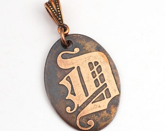 Copper D pendant, oval flat antiqued metal Gothic monogram jewelry, optional necklace, 31mm