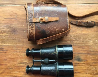 Antique Dollond of London Binoculars. WWl Military Field Glasses. Vintage Steampunk Accessory.