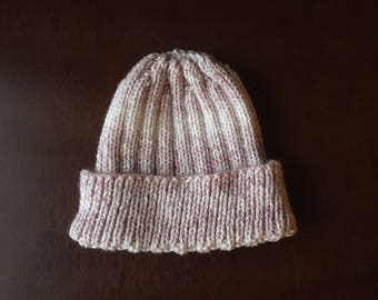 Pink and White Knit Beanie