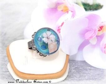 Bora bora glass cabochon ring