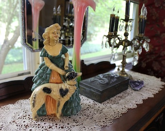 Southern Belle Plaster Statue With Russian Wolfhound, Southern Belle Chalkware Statue, Antebellum Style Plaster Woman and Dog