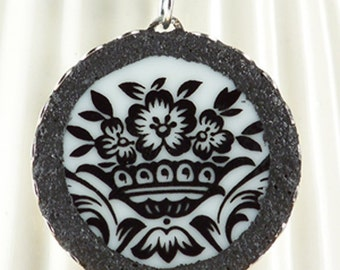 Black and White Recycled Broken Plate Pendant