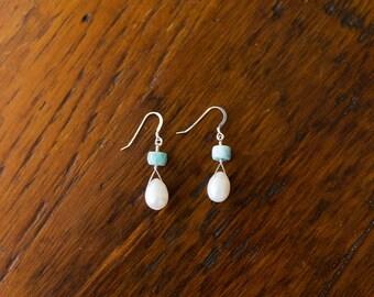 Freshwater Pearl & Larimar Earrings
