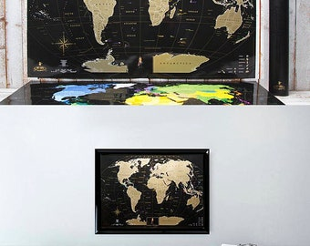Push Pin Travel Map – Scratchable Off World Map Wall Poster with Push PinsUnique Wedding Gift for Couple – Scratchable Off Travel Map