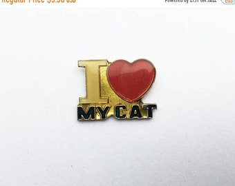 Sale- 25% Off Vintage 90s Cat Pin I Heart My Cat Pin Vintage Cat Pin I Love My Cat Pin 90s Cat Pin Red And Gold Pin Heart Pin Cat Person Pin
