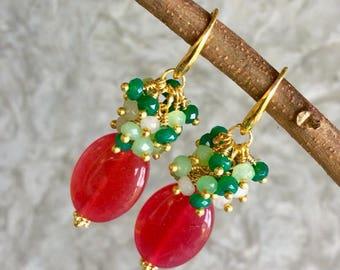 Ruby Earring, Shine Earring, Cluster Earring, Drop Earring Gold, Love Stone Earring, Good Luck Jewelry, Bridal Earring, Gift For Her.