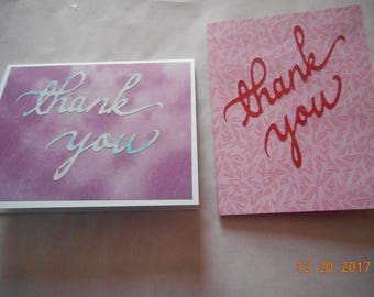 Thank you cards, Set of 2, handmade cards