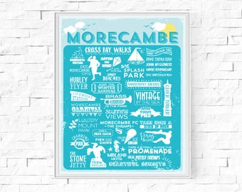 "Printable Morecambe Digital Print - UK Seaside Resort - British Town - Beach Theme  - Contemporary Wall Art - Typography Print - 8""x10"" & A4"