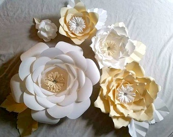 Large Paper Flowers Cream, White ,Home Decor, Event Backdrops , Nursery decor , Handmade Flowers, Wedding Decor