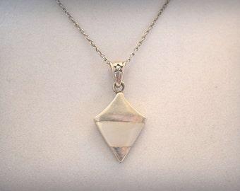 White Quartz Necklace, Sterling Silver Pendant, Silver Pendant, 1970's Necklace, White Quartz Pendant