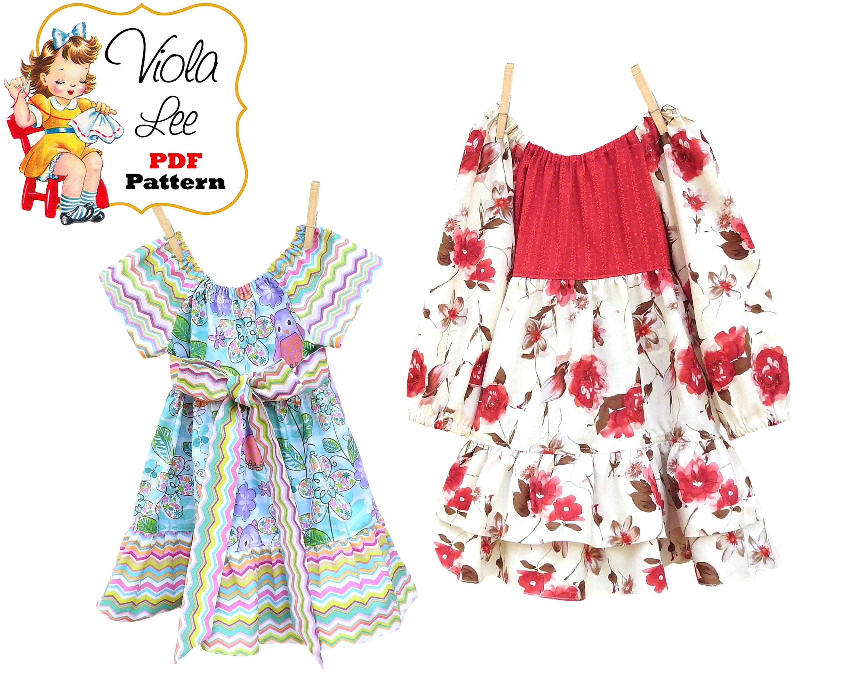 Long Sleeve Dress Pattern Toddler Pattern pdf. Girls Peasant