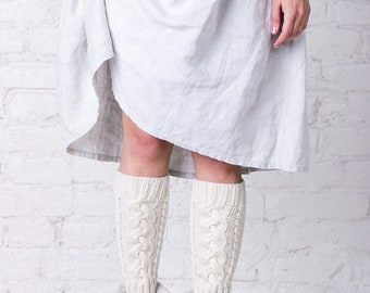 White winter wool women leg warmers Dance yoga thick over knee leg warmers High knee boot socks Cable warm autumn leg warmers womens gift