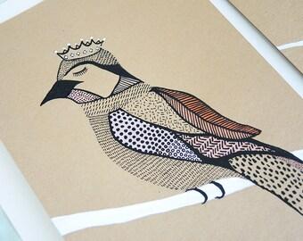 Pink Princess bird - Original painting - mixed media on acid free paper