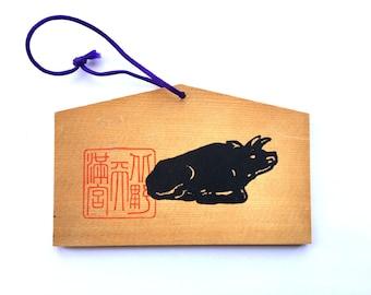 Japanese Shrine Wood Plaque - Cow - Ema - Vintage Wood Plaque - Japanese Shrine Plaque E3-82