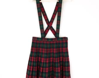 80s Plaid Pleated Skirt with suspenders red green tartan wool
