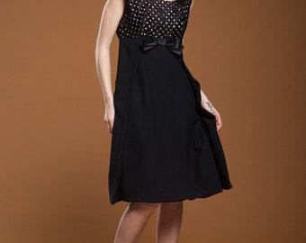 LBD little black party dress basket weave sleeveless empire bow crepe vintage 60s MEDIUM M