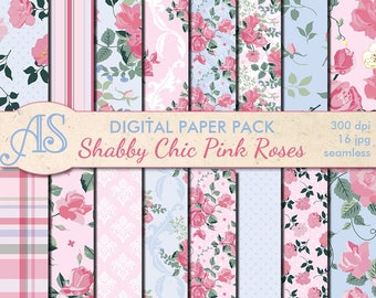 Digital Shabby Chic Pink Roses Seamless Paper Pack, 16 printable Scrapbooking papers, retro roses Digital Collage, Instant Download, set 222