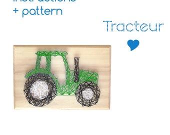String art Pattern + Instructions  - DIY Tractor - Boy's room - Download String Art Pattern -  Farmhouse sign - DIY String Art