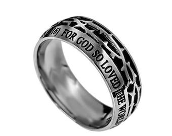 """Crown Of Thorns Ring """"John 3:16"""""""