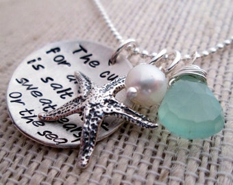 The Sea -  hand stamped necklace - Ocean Necklace - Beach Jewelry