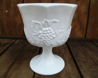 Milk Glass  Footed Candy Dish Grapes