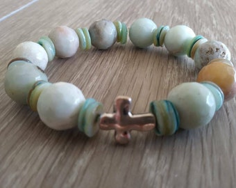 Natural Amazonite Bracelet, Rosary Bracelet, Natural Gemstone, Stretch Fashion Bracelet, Christian Bracelet