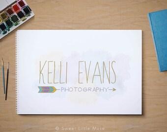 Photography Logo - premade logo - arrow logo - watercolor logo - hand drawn logo