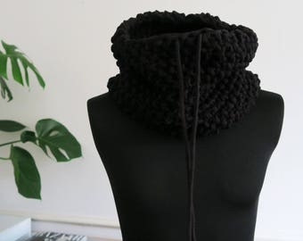 Knit oversized jersey snood, chunky oversizes snood, cosy neck warmer, loop scarf, women's neck warmer, men's neck warmer