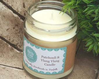 Natural Candle, Patchouli & Ylang Ylang, essential oils, bath gift, home gift, gift for her, natural soy wax candle