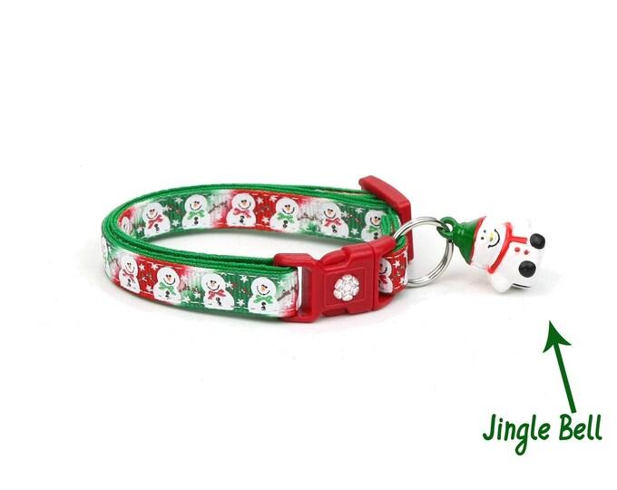Snow Cat Collar - Jolly Snowmen on Christmas Tie Dye - Small Cat / Kitten or Large(standard) Size Collar