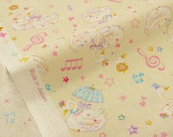 Musical Swan Print Japanese Fabric Ivory - 110cm x 50cm