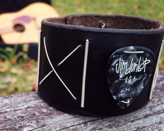 Leather Guitar and Bass String Cuff Bracelet with Pearloid Pick
