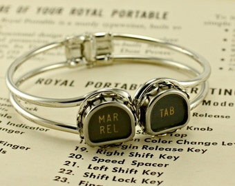 Tombstone Shape Vintage Typewriter Key Cuff Bracelet  You Choose Letters or Symbols