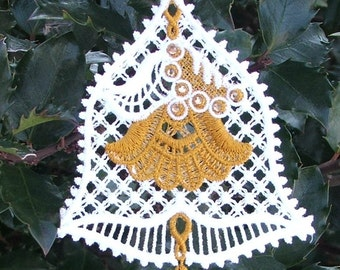 Bell ornament,  Wedding bell,  Embroidered Lace Bell