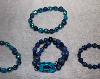 Day of the Dead Stretchable Skull Bracelet Blues & Greens