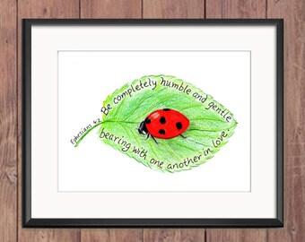 Ladybug, Bible Verse art print, scripture design, hand lettered typography, wall art decor
