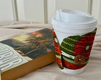 Coffee Cozy/drink holder/cup sleeve/fabric with button closure/quilted/Kanga cloth/ReusableKhanga