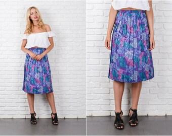 Blue + purple Geometric Patchwork Skirt 8157 Pleated Maze A-Line M L Xl 8157