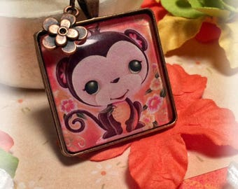Monkey Necklace, Girls Jewelry, Pendant Necklace, Whimsical, Gift for Girls, Flowers, Square, Cute, Chinese New Year, Antique Copper