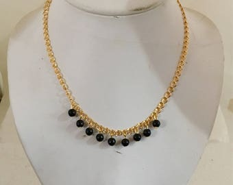 Gold plated brass chain link necklace with black onyx