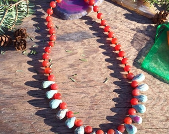 Carnelian and Ruby Beaded Necklace, Bohemian Necklace