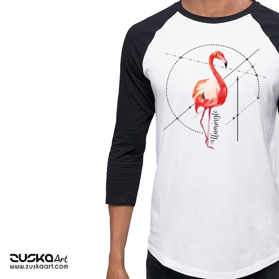 Let's FlaMingle! | Unisex Raglan Shirt | 3/4 sleeves | Basketball shirt | Party T-shirt | Flamingo Tee | Shirt for her / him | Pink bird |