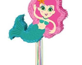 Mermaid PULL STRING  Pinata 21 inches by 14.5 inches