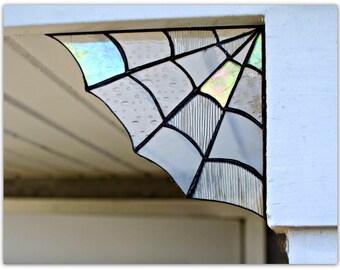 Black Glass Spider Web Corner,Home decor, Garden decor,spider web decor, halloween decor, stained glass,garden, corners, magical, unique