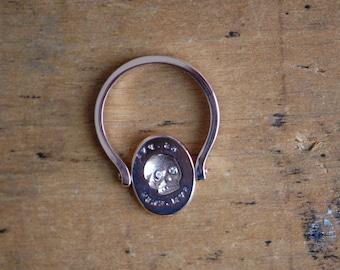 ES FUI memento mori 14K gold swivel ring ∙ Victorian skull signet memento mori custom ring