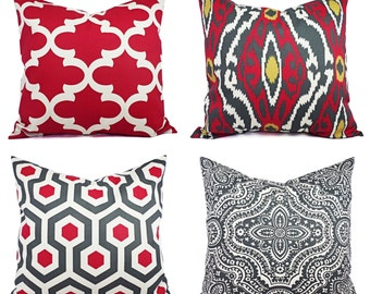 One Throw Pillow Cover - Deep Red and Beige Pillow - Decorative Pillow - Red Quatrefoil Pillow - Accent Pillow - Pillow Covers - Red Pillows
